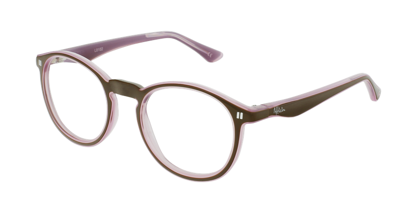 Óculos graduados criança REFORM TEENAGER (J4 BRPK) castanho/rosa - vue de 3/4