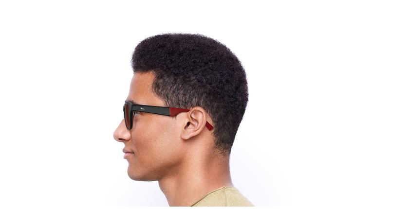Óculos de sol homem GEANT POLARIZED BK preto/vermelho - Vista lateral