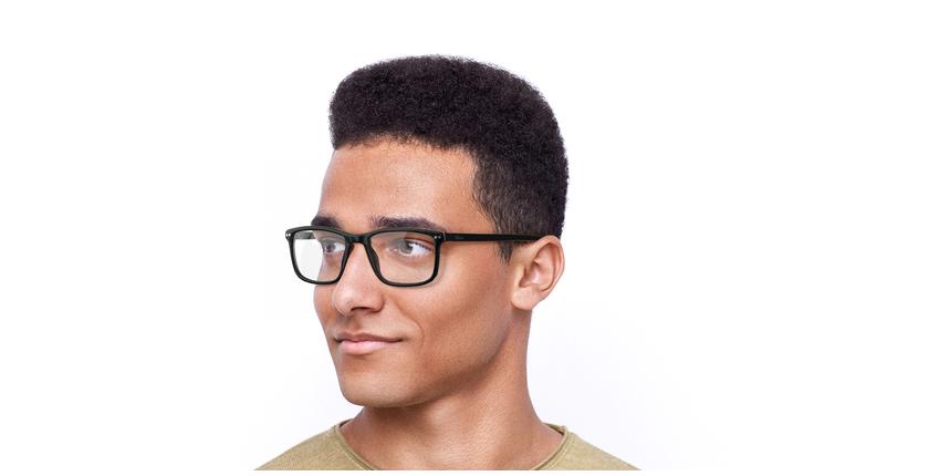 Óculos graduados homem GWENDAL BK (TCHIN-TCHIN +1€) preto/cinzento - vue de 3/4