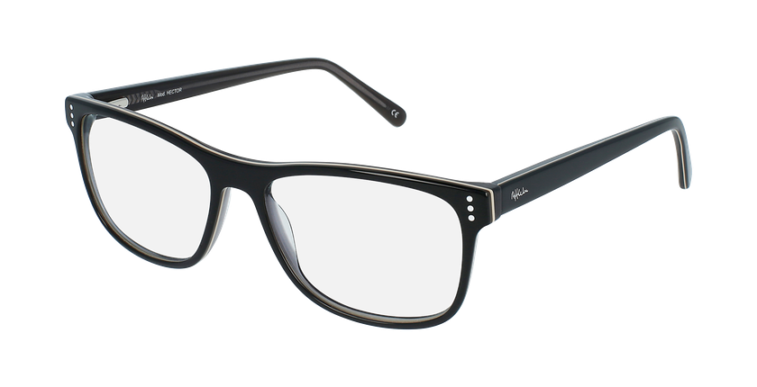 Óculos graduados homem HECTOR BK (TCHIN-tCHIN +1€) preto/cinzento - vue de 3/4