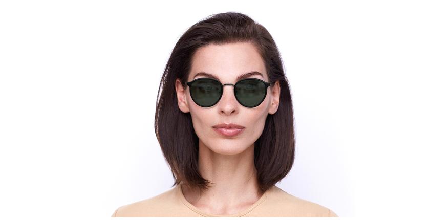 Óculos de sol AVILES BK preto/metalizado - Vista de frente