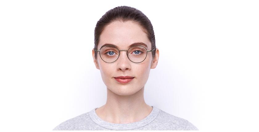 Óculos graduados senhora NELIA GD (TCHIN-TCHIN +1€) preto/dourado - Vista de frente