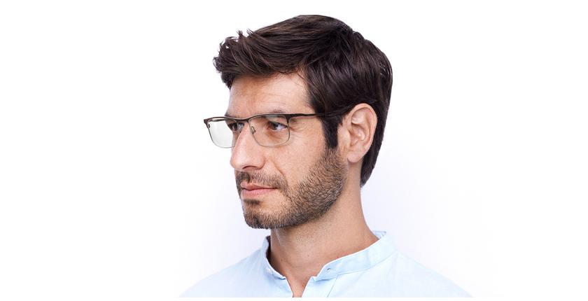 Óculos graduados homem MAGIC 51 BLUEBLOCK - BLOQUEIO LUZ AZUL vermelho/prateado - vue de 3/4
