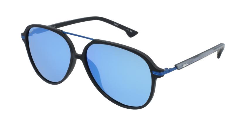 Óculos de sol homem BASAURI BKBL preto/azul - vue de 3/4