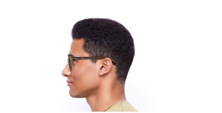 Óculos de sol homem Lee to tartaruga/amarelo - Vista lateral