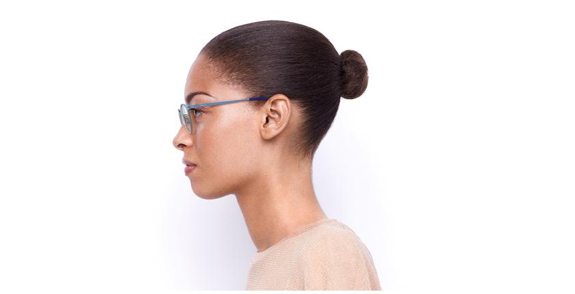 Lunettes de vue femme OXYGEN bleu/argenté - Vue de côté