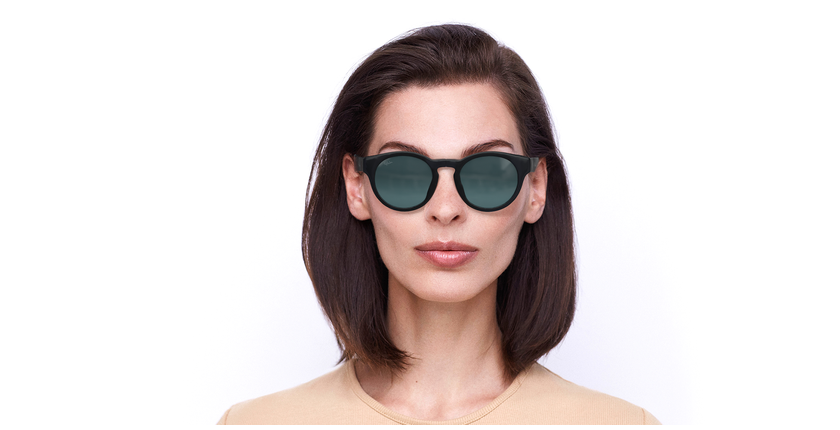 Óculos de sol senhora SLALOM POLARIZED BK preto/turquesa - Vista de frente