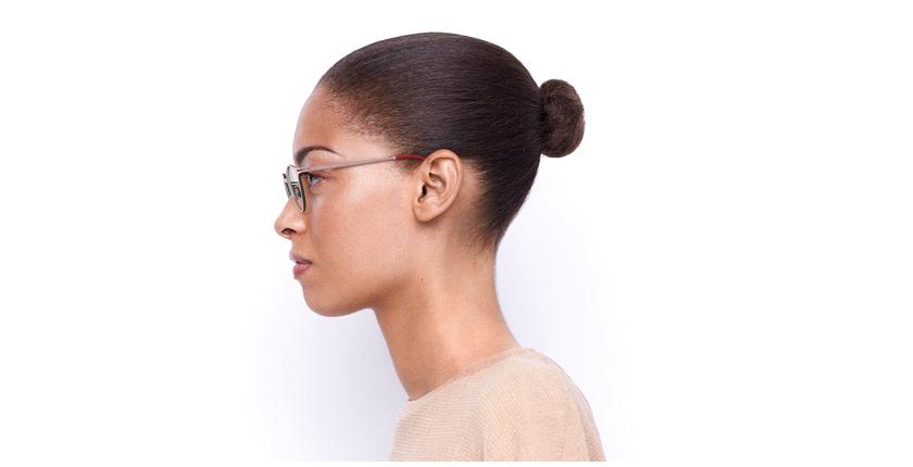 Lunettes de vue femme OXYGEN rose/argenté - Vue de côté