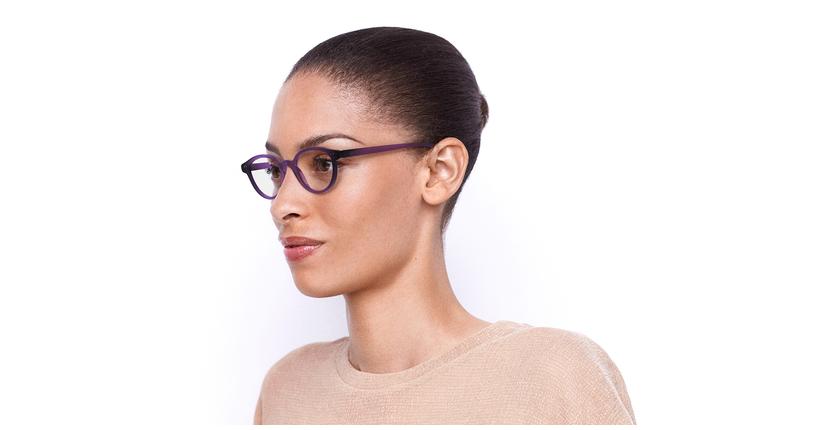 Óculos graduados senhora MAGIC 49 BLUEBLOCK - BLOQUEIO LUZ AZUL violeta - vue de 3/4