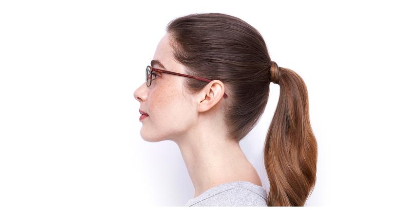 Lunettes de vue femme SHIRLEY rouge - Vue de côté