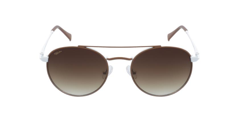 Óculos de sol criança SANTIAGO BR castanho/branco - Vista de frente
