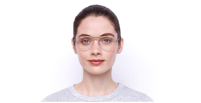 Lunettes de vue femme MAHE rose - Vue de face