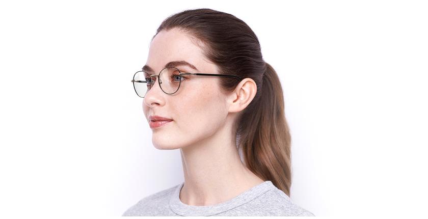 Óculos graduados senhora NELIA GD (TCHIN-TCHIN +1€) preto/dourado - vue de 3/4