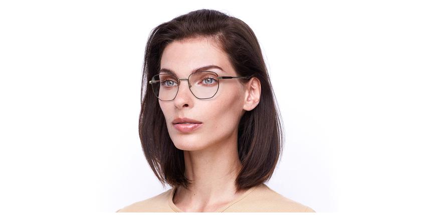 Óculos graduados senhora ERIN BU (TCHIN-TCHIN +1€) vermelho/dourado - vue de 3/4