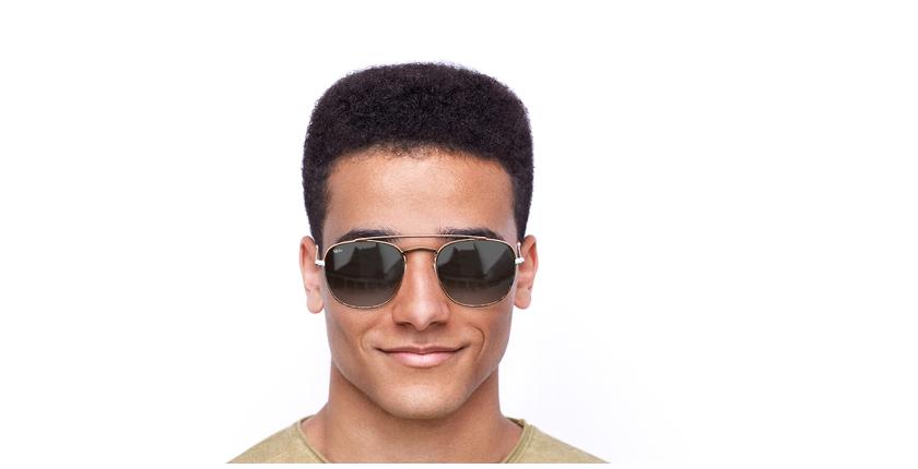 Lunettes de soleil homme TOSSA marron/blanc - Vue de face