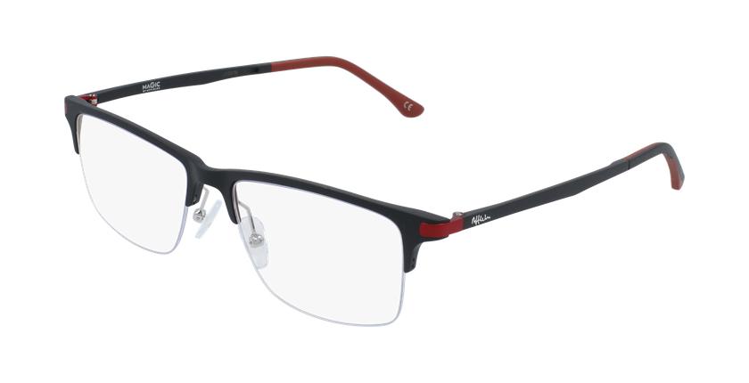 Óculos graduados homem MAGIC 56 BLUEBLOCK - BLOQUEIO LUZ AZUL preto/vermelho - vue de 3/4