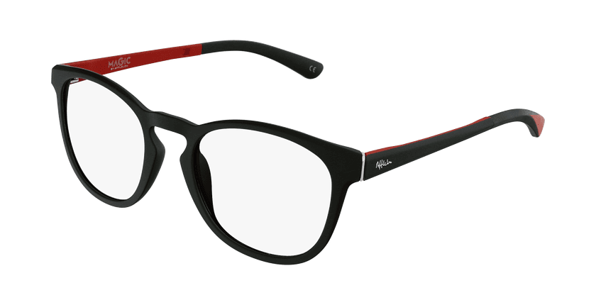 Óculos graduados homem MAGIC 63 BK preto/vermelho - vue de 3/4