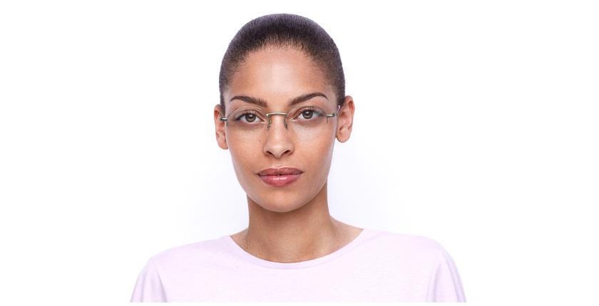Lunettes de vue femme LAM rose/doré - Vue de face